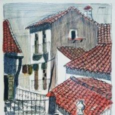 Arte: MORENNO ( MÁLAGA 1931), PRECIOSA OBRA ORIGINAL TEJADOS DE MÁLAGA, FIRMADA.. Lote 142279682