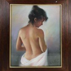Arte: DESNUDO FEMENINO. DIBUJO AL PASTEL SOBRE PAPEL. FIRMADO M. FOJ. SIGLO XX. . Lote 142432886