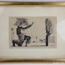 Arte: CELEDONIO PERELLÓN (1926), DIBUJO, AMERICANISMO INDIGENISTA. 34X27CM. Lote 142525430