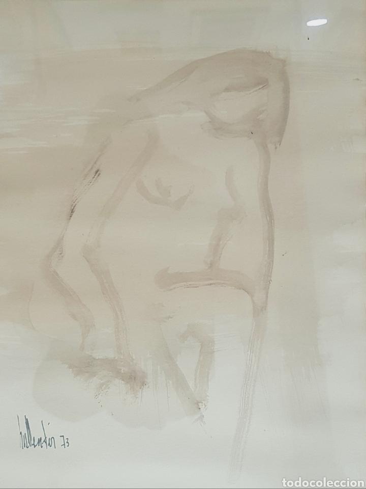 GINO HOLLANDER, PEQUEÑO DIBUJO DESNUDO FEMENINO FIRMADO. (Arte - Dibujos - Contemporáneos siglo XX)