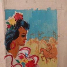 Arte: BOCETO PARA UN CARTEL DE LA FERIA DE SEVILLA, POR MANUEL FLORES PÉREZ. TÉCNICA MIXTA.. Lote 142933138
