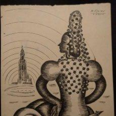 Arte: DIBUJO ART-DECÓ DE FLAMENCA. 1938. SEVILLA. MANUEL FLORES PÉREZ. TINTA NEGRA SOBRE PAPEL. FERIA. Lote 142933434