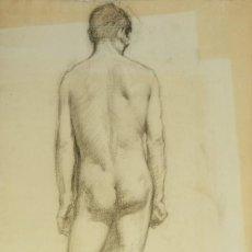 Arte: DIBUJO AL CARBONCILLO DESNUDO MASCULINO PRINCIPIOS SIGLO XX. Lote 142987266