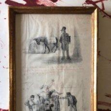 Arte: DIBUJO 2 ILUSTRACIONES A LAPIZ ENMARCADO JOSEP LLOVERA BOFILL ( REUS 1846 - 1896 ).. Lote 143222466