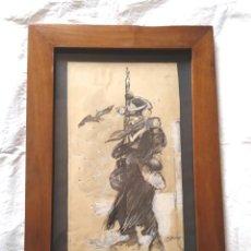 Arte: SOLDADO EJERCITO AÑO 1812, DIBUJO TECNICA MIXTA S XIX, MARCO MADERA DE NOGAL. MED. 29 X 42 CM. Lote 143289326