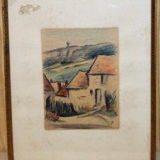 Arte: JEAN TARGET (1910-1997) - DIBUJO A COLOR - PAISAJE CON CASAS - AÑOS 50 . Lote 143299574