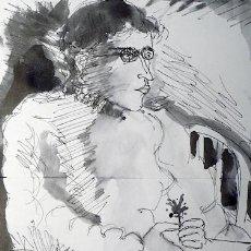 Arte: MANUEL VIDAL, DIBUJO TINTA FIRMADO. Lote 143601422