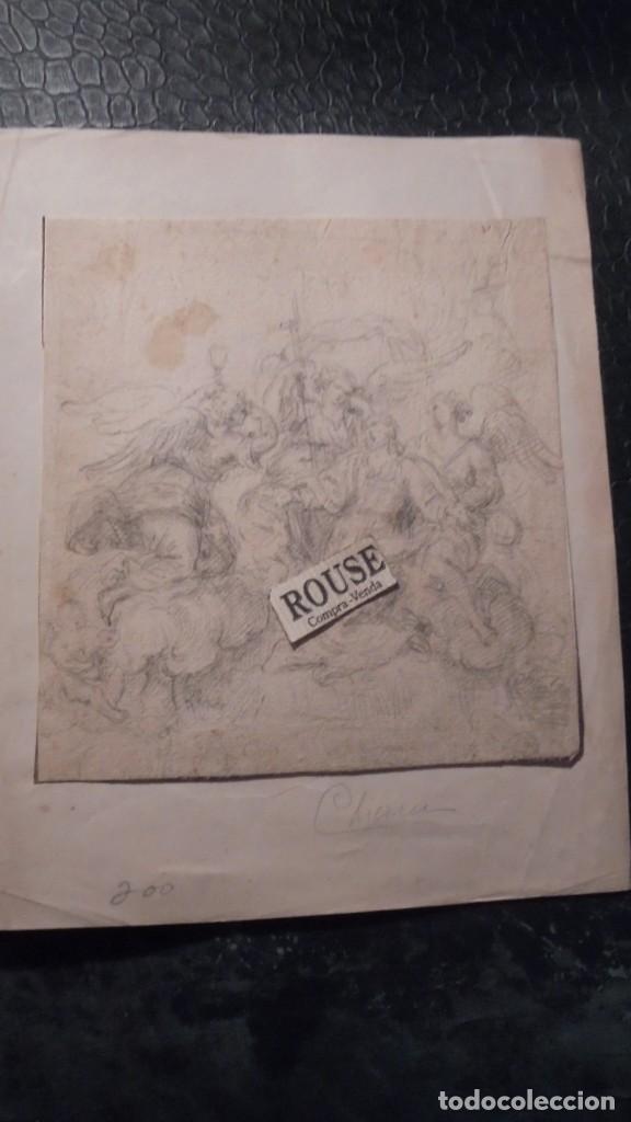 ANTIGUO DIBUJO A LAPIZ - S. XVIII-XIX - TEMA RELIGIOSO MONTADO SOBRE CARTULINA (Arte - Dibujos - Antiguos hasta el siglo XVIII)