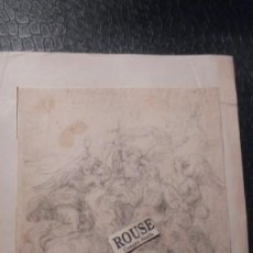 Arte: ANTIGUO DIBUJO A LAPIZ - S. XVIII-XIX - TEMA RELIGIOSO MONTADO SOBRE CARTULINA. Lote 143731762