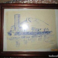 Arte: ANTIGUO DIBUJO PUERTO Y CASTILLO DE ALICANTE FIRMADO CLIMENT . Lote 143804686