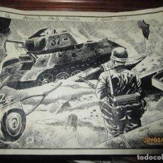 Arte: TANQUE ALEMAN DE GUERRA ALEMANA DIBUJO A PLUMILLA ANTIGUO ORIGINAL FIRMADO REIG. Lote 143805006