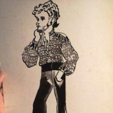 Arte: DIBUJO ACUARELA AÑOS 60, DIBUJO DE HOMBRE, BUEN TRAZO, SOBRE PAPEL, ANONIMO 24X35CM. Lote 143845413
