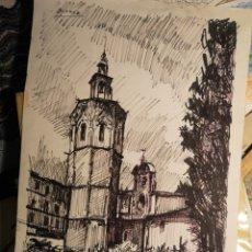 Arte: DIBUJO TINTA ROTULADOR, FIRMADO J LORCA, IMAGEN MIGUELETE, VALENCIA, 50X32CM. Lote 143845946