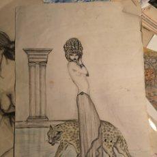 Arte: DIBUJO A TINTA COLOREADO, SEMIDESNUDO FEMENINO, FIRMADO, SOBRE PAPEL, 40X27. Lote 143846174