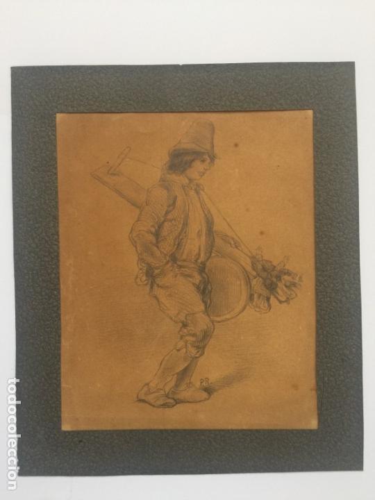 DIBUJO ORIGINAL A LÁPIZ SOBRE PAPEL , FIRMADO P.R. DEL S. XIX (Arte - Dibujos - Modernos siglo XIX)