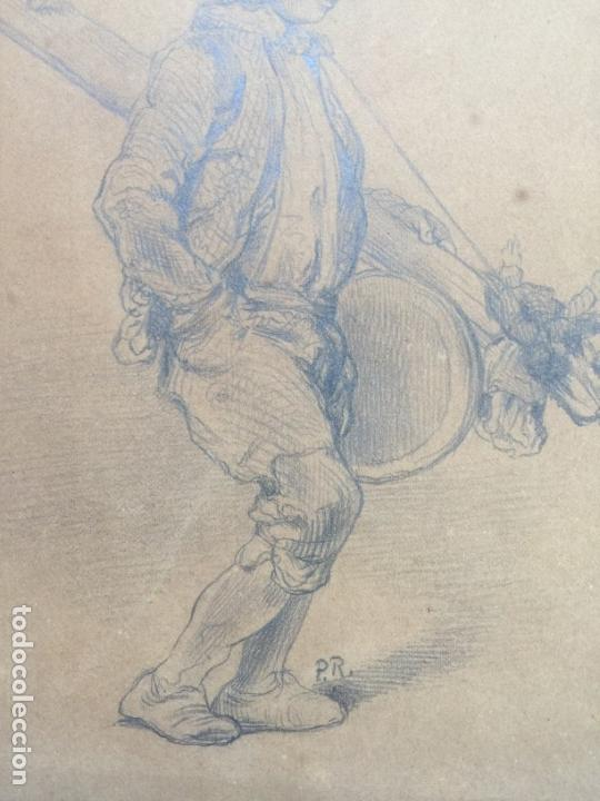 Arte: DIBUJO ORIGINAL A LÁPIZ SOBRE PAPEL , FIRMADO P.R. DEL S. XIX - Foto 9 - 110621087