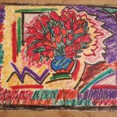 Arte: DIBUJO A CERA, BODEGON DE FLORES, MUY COLORIDO 33X45CM. Lote 143929254
