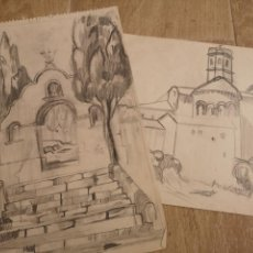 Arte: LOTE DE DOS DIBUJOS A LAPIZ, VISTAS DE PUEBLO. Lote 143929545