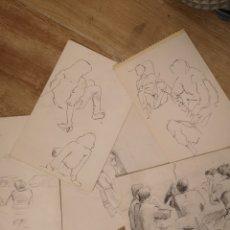 Arte: LOTE DE 5 DIBUJOS A BOLI Y LAPIZ 17X22 APROX, BUEN TRAZO, SIN FIRMAR. Lote 143933754