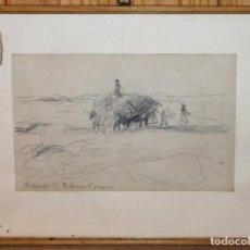 Arte: DIBUJO AL CARBONCILLO - ESCENA DE CAMPO - FIRMA ILEGIBLE - AÑOS 30. Lote 144124046