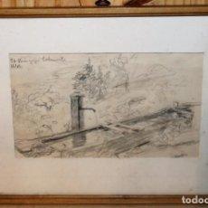Arte: DIBUJO AL CARBONCILLO - PAISAJE CON FUENTE - FIRMA ILEGIBLE - AÑOS 30. Lote 144124558