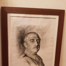 Arte: RETRATO DE FRANCISCO FRANCO A LÁPIZ REALIZADO POR ISMAEL BLAT - BENIMAMET VALENCIA 1901-1976. Lote 144272725