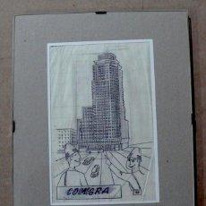 Arte: DIBUJO A TINTA DE LA TORRE DE MADRID. Lote 144477774