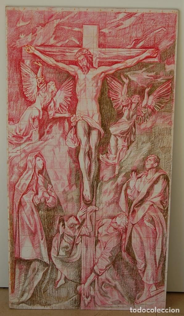 COPIA ORIGINAL DEL FAMOSO CUADRO DEL GRECO: LA CRUCIFIXIÓN - ¡ MEJOR VER ! (Arte - Dibujos - Antiguos hasta el siglo XVIII)