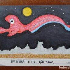 Arte: DIBUJO/COLLAGE ORIGINAL, 32 X 23 APROX. Lote 144629658