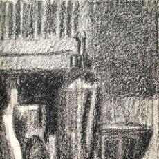 Arte: JORDI CUROS DIBUJO AL CARBONCILLO/CARTULINA 34 X 25 CM. BODEGÓN. FIRMADO. AÑOS 50.. Lote 145010074