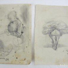 Arte: SIMÓ BUSOM, DOS DIBUJOS, AÑOS 1951 Y 1952, COSTURERA Y CABALLO. 10,5X14CM. Lote 145062058
