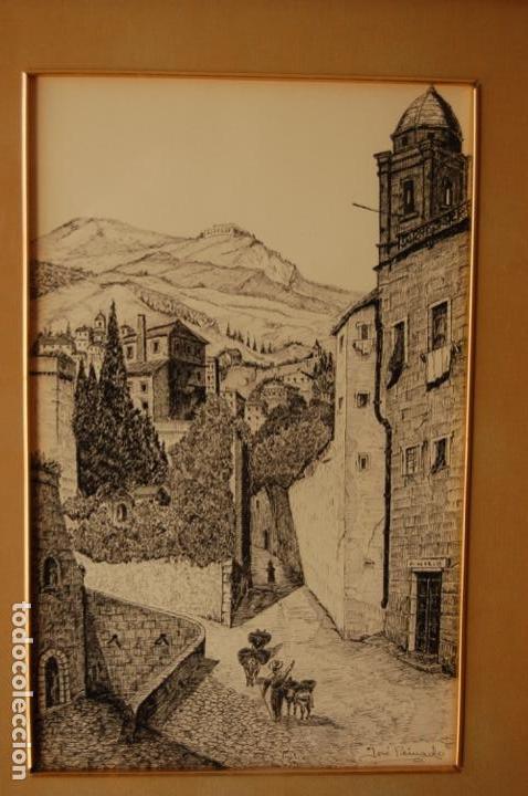 Arte: José Peinado. Dibujo a plumilla de 25 x 40,5 muy bien enmarcado en 42 x 57. Escena de Ronda. - Foto 2 - 145173290