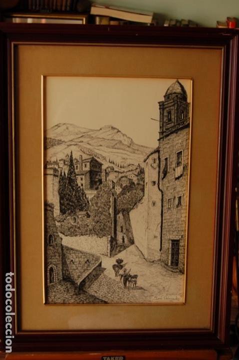 Arte: José Peinado. Dibujo a plumilla de 25 x 40,5 muy bien enmarcado en 42 x 57. Escena de Ronda. - Foto 3 - 145173290