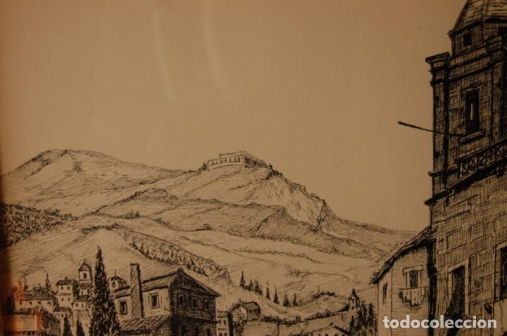 Arte: José Peinado. Dibujo a plumilla de 25 x 40,5 muy bien enmarcado en 42 x 57. Escena de Ronda. - Foto 4 - 145173290