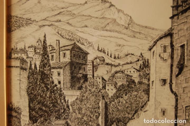 Arte: José Peinado. Dibujo a plumilla de 25 x 40,5 muy bien enmarcado en 42 x 57. Escena de Ronda. - Foto 5 - 145173290