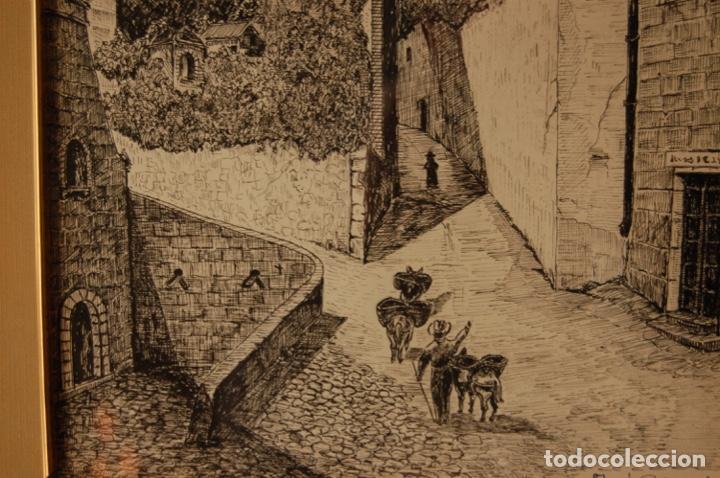 Arte: José Peinado. Dibujo a plumilla de 25 x 40,5 muy bien enmarcado en 42 x 57. Escena de Ronda. - Foto 6 - 145173290