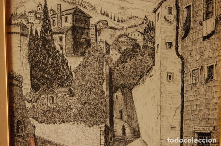 Arte: José Peinado. Dibujo a plumilla de 25 x 40,5 muy bien enmarcado en 42 x 57. Escena de Ronda. - Foto 7 - 145173290