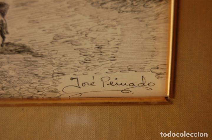 Arte: José Peinado. Dibujo a plumilla de 25 x 40,5 muy bien enmarcado en 42 x 57. Escena de Ronda. - Foto 8 - 145173290