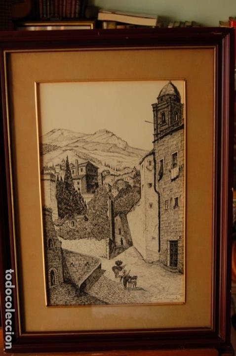 Arte: José Peinado. Dibujo a plumilla de 25 x 40,5 muy bien enmarcado en 42 x 57. Escena de Ronda. - Foto 9 - 145173290