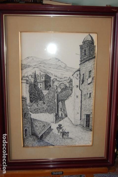 Arte: José Peinado. Dibujo a plumilla de 25 x 40,5 muy bien enmarcado en 42 x 57. Escena de Ronda. - Foto 10 - 145173290