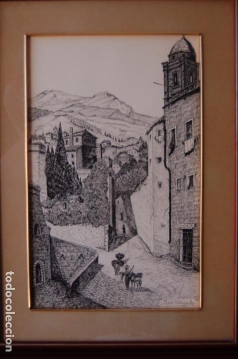 Arte: José Peinado. Dibujo a plumilla de 25 x 40,5 muy bien enmarcado en 42 x 57. Escena de Ronda. - Foto 11 - 145173290