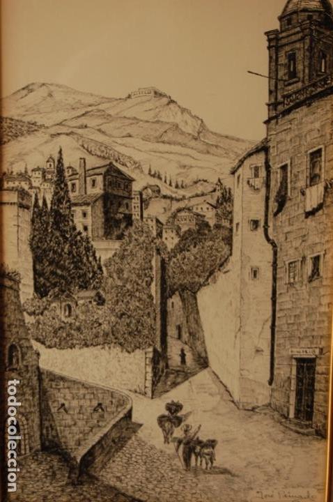 JOSÉ PEINADO. DIBUJO A PLUMILLA DE 25 X 40,5 MUY BIEN ENMARCADO EN 42 X 57. ESCENA DE RONDA. (Arte - Dibujos - Contemporáneos siglo XX)