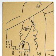 Arte: JEAN COCTEAU. DIBUJO ORIGINAL FIRMADO. TINTA SOBRE HOJA DE UN LIBRO. APROX 1958.22 X 15 CM. Lote 145280454