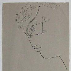 Arte: JEAN COCTEAU. ETAPA ROSTROS OJOS DE PEZ. ORIGINAL FIRMADO. TINTA SOBRE PAPEL 1952- . 21,3 X 15,1 CM. Lote 145286222
