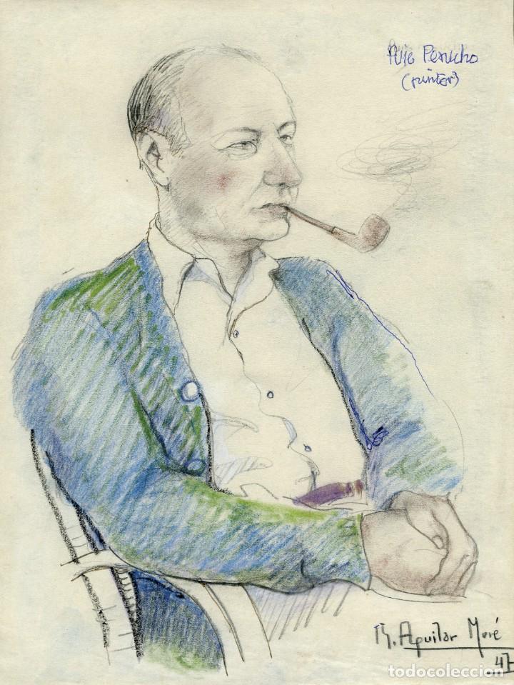 RETRATO DEL PINTOR BUENAVENTURA PUIG PERUCHO REALIZADO POR EL PINTOR RAMON AGUILAR MORÉ EN 1947. (Arte - Dibujos - Contemporáneos siglo XX)