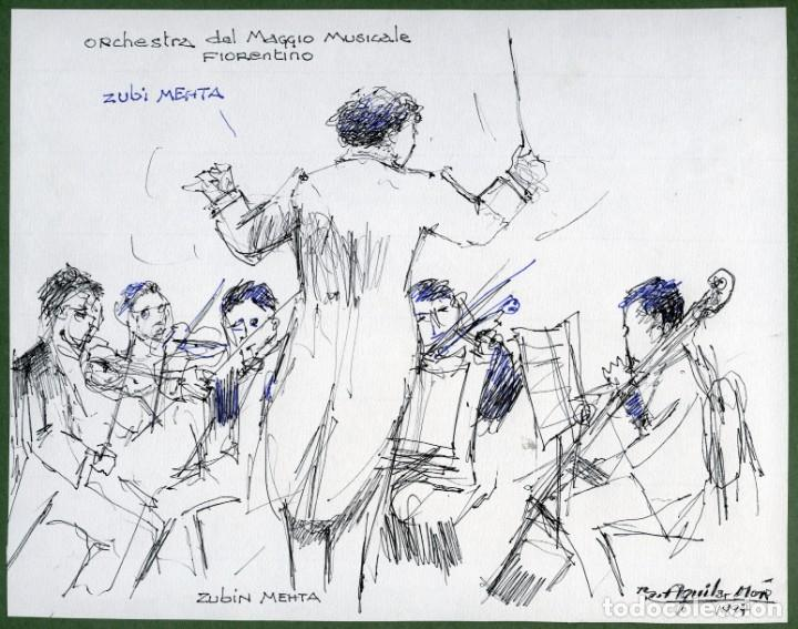 2 DIBUJOS DEL DIRECTOR DE ORQUESTA ZUBIN MEHTA POR RAMON AGUILAR MORÉ, 1997 (Arte - Dibujos - Contemporáneos siglo XX)