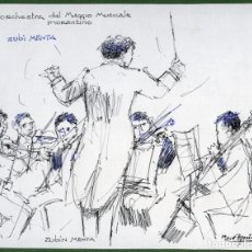 Arte: 2 DIBUJOS DEL DIRECTOR DE ORQUESTA ZUBIN MEHTA POR RAMON AGUILAR MORÉ, 1997. Lote 145367910