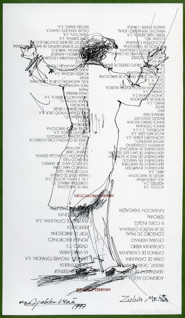 Arte: 2 dibujos del director de orquesta Zubin Mehta por Ramon Aguilar Moré, 1997 - Foto 2 - 145367910