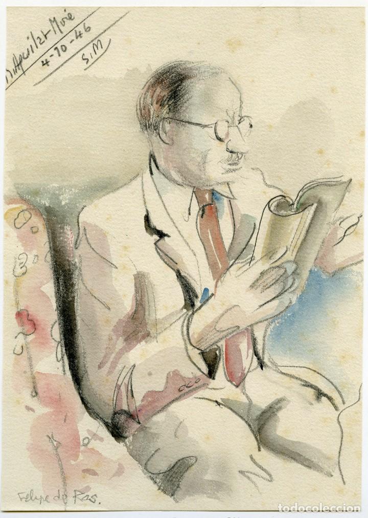 2 RETRATOS DE LA ESPOSA Y EL SUEGRO DE DIONISIO RIDRUEJO POR RAMON AGUILAR MORE, 1945 Y 1946 (Arte - Dibujos - Contemporáneos siglo XX)