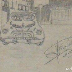 Arte: ALFONSO TUBERT. DIBUJO ORIGINAL COCHE AMERICANO DE LOS AÑOS 40. FIRMADO A MANO. 28-12-49. 6X9 CM.. Lote 133026734